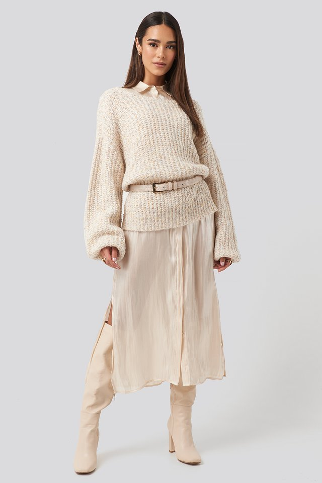 Deep Neck Melange Sweater Outfit.