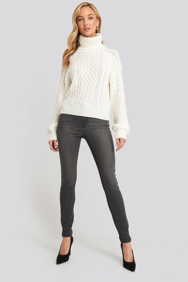 High Neck Cable Knitted Sweater Outfit.