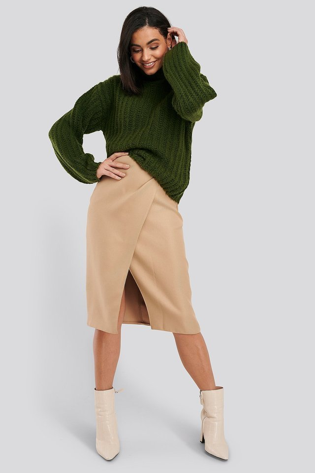 High Neck Heavy Knitted Sweater Outfit.