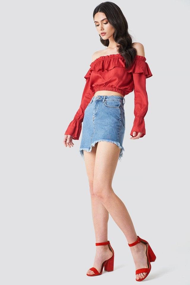 Blue Denim Asymmetric Raw Hem Denim Skirt