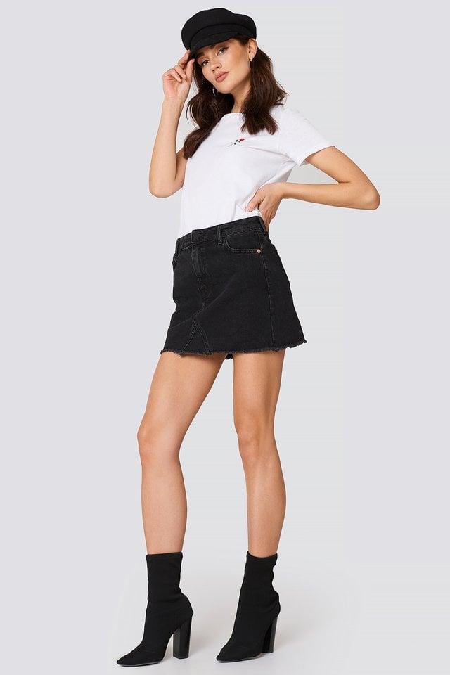 Frayed Edges Denim Skirt Outfit.