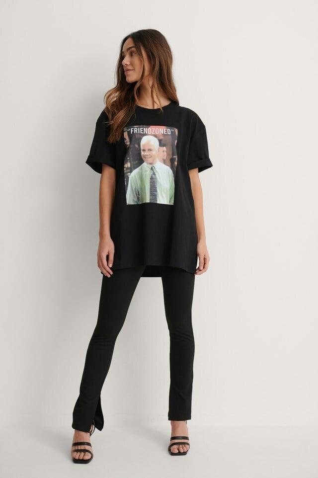 Black Print Friendzooned Organisch T-shirt Met Print