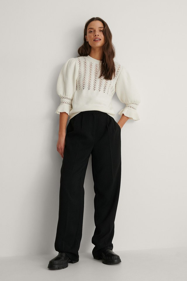 Puff Sleeve Structured Knitted Sweater Outfit.