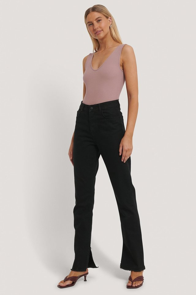 Ribbed V-Neck Body Outfit.