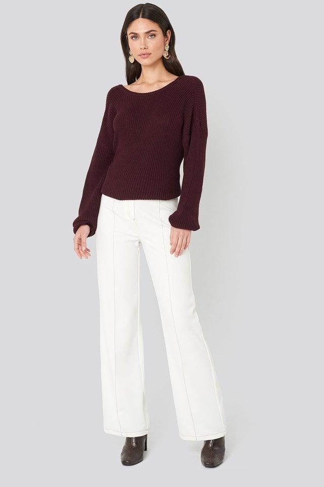 Burgundy Knitted Deep V-neck Sweater
