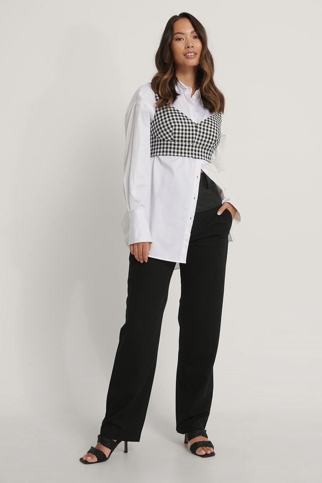 Check Tailored Cropped Top Outfit.