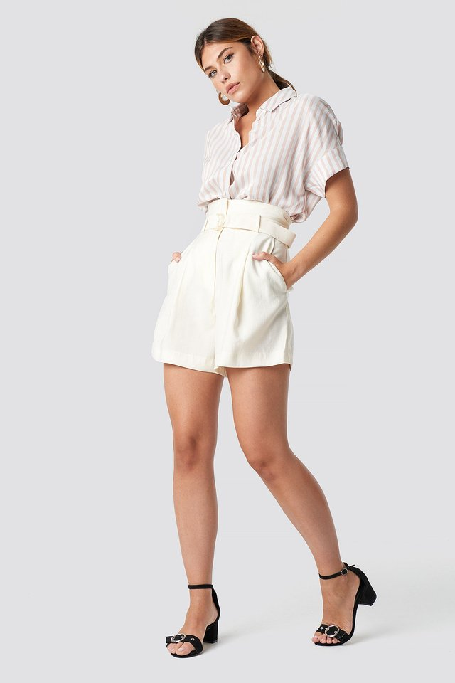 Belted High Waist Shorts Outfit