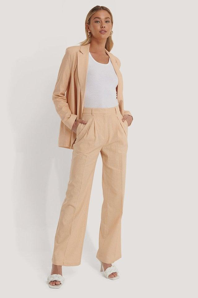 Folded Wide Leg Suit Pants Outfit.
