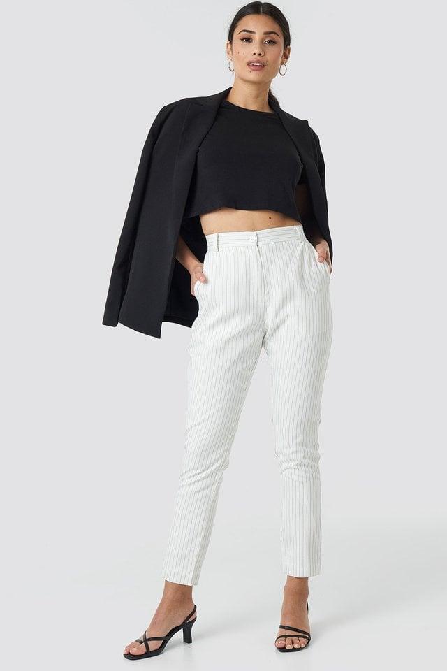 Pinstripe Suit Pants Outfit.