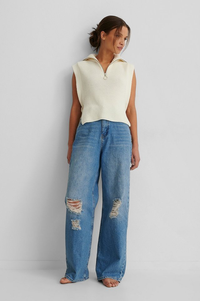 Organic Wide Leg Destroyed Details Jeans Blue Outfit.