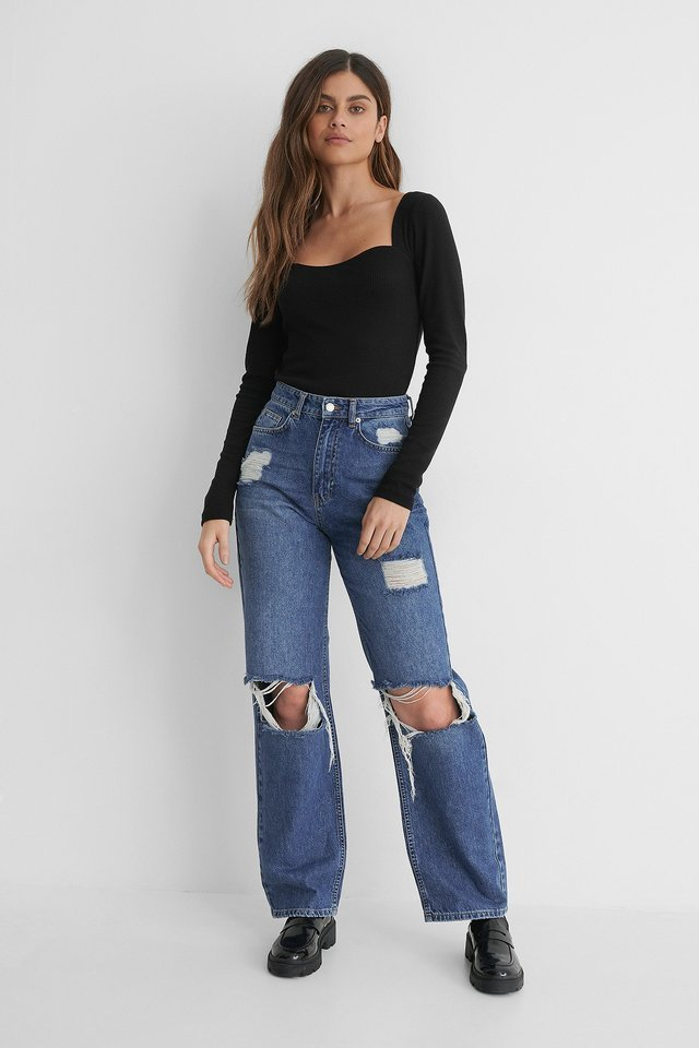 High Waist Wide Leg Destroyed Jeans Blue Outfit.