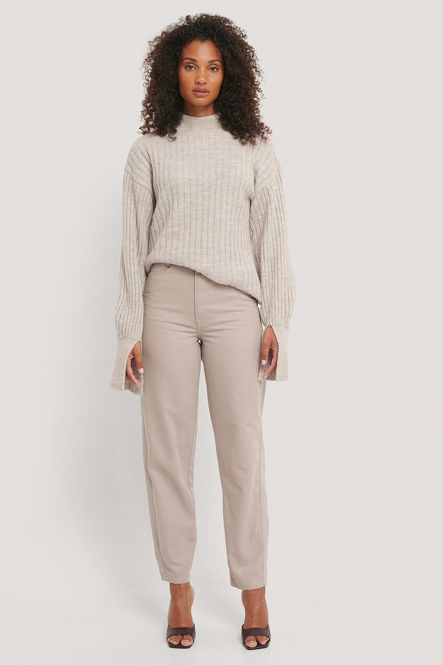 Light Beige Cuff Slit Knitted Sweater
