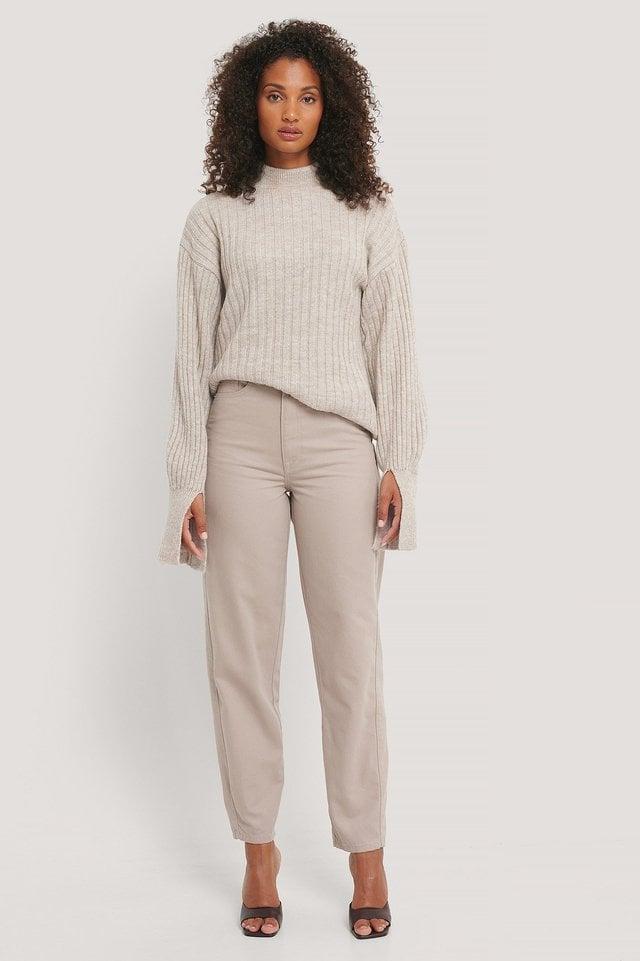 High Waist Barrel Leg Jeans Grey Outfit.