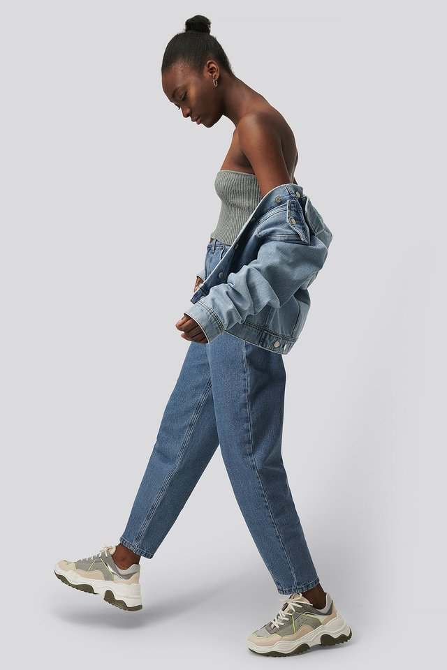 Recycled Cropped Balloon Leg Jeans Blue Outfit.