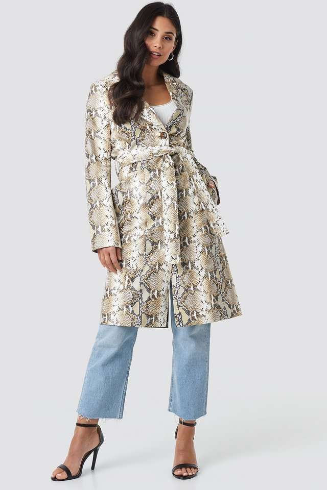 Snake Printed PU Coat Outfit.