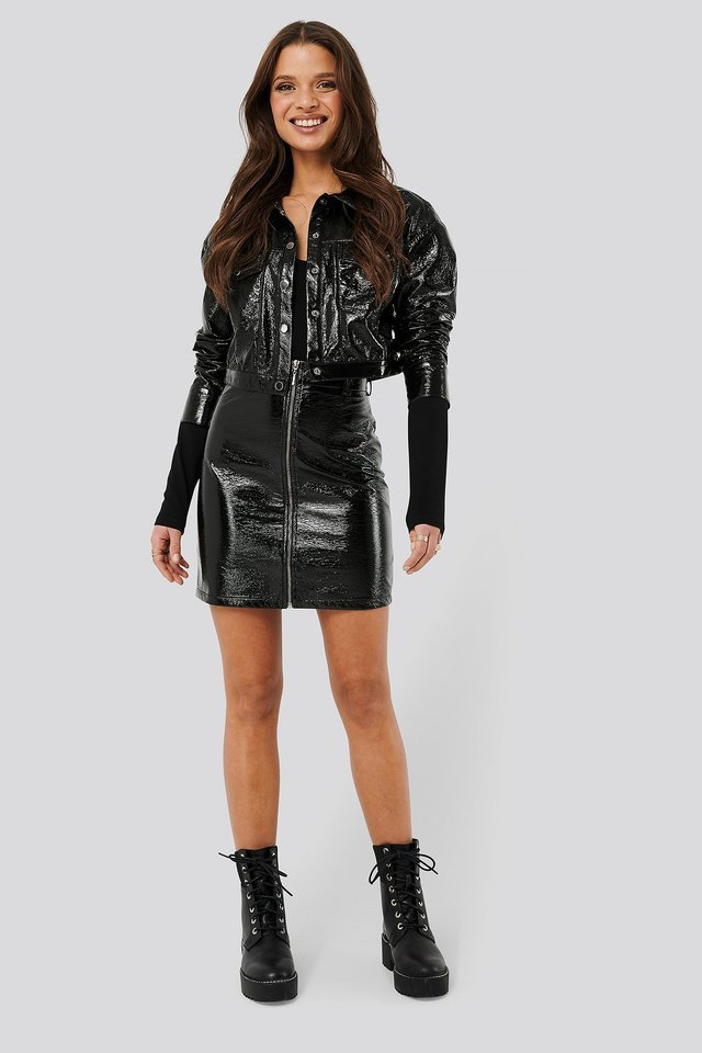 Patent Cropped Jacket Black Outfit.