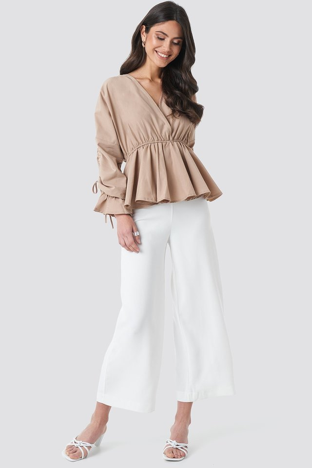 Shirred Waist Blouse Outfit.