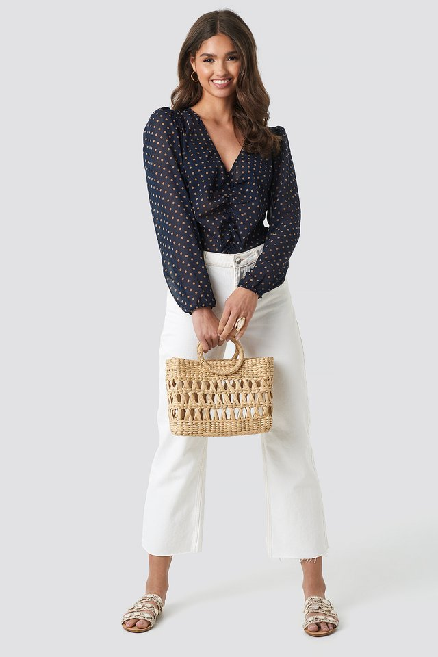 Gathered Front LS Blouse Outfit.