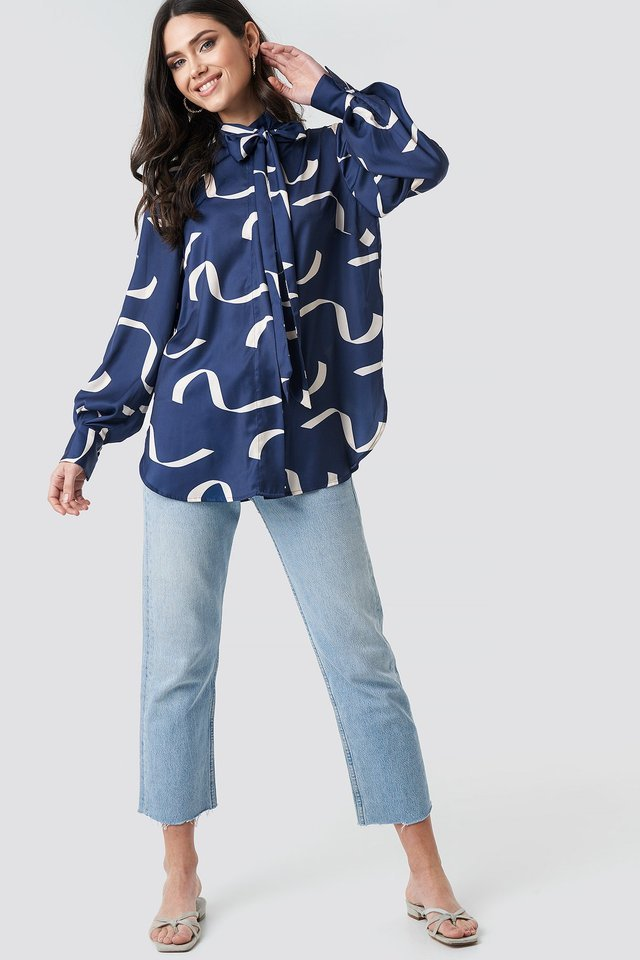Tied Collar Printed Shirt Outfit.