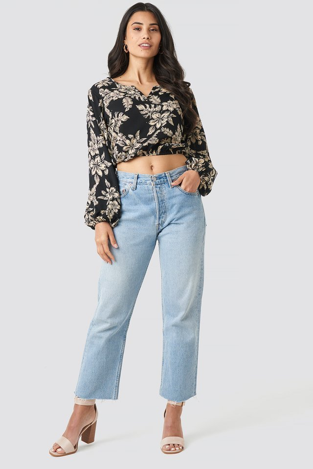 Balloon Sleeve Flower Blouse Outfit.