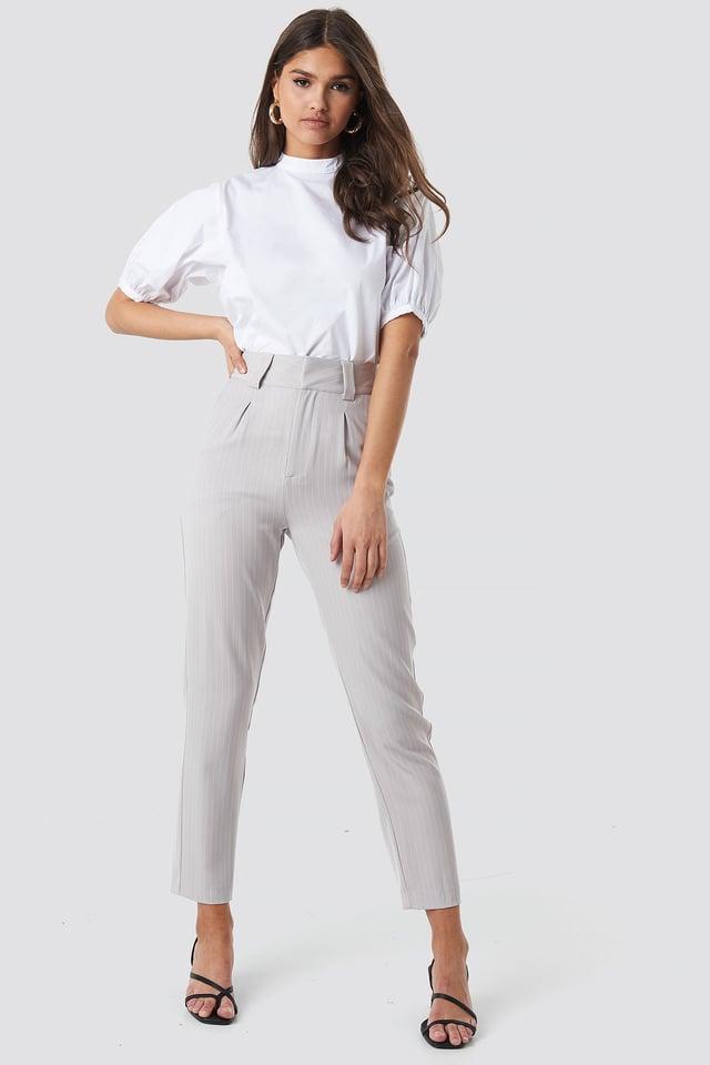 Balloon Short Sleeve Shirt Outfit.