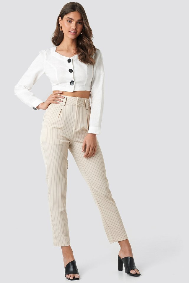 Linen Blend Buttoned Blouse Outfit.