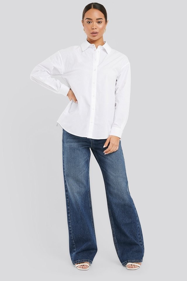 Adjustable Side Strap Oversized Shirt Outfit.