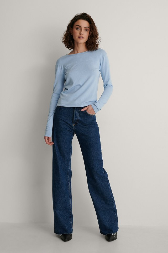 Open Back Long Sleeve Knitted Sweater Outfit.