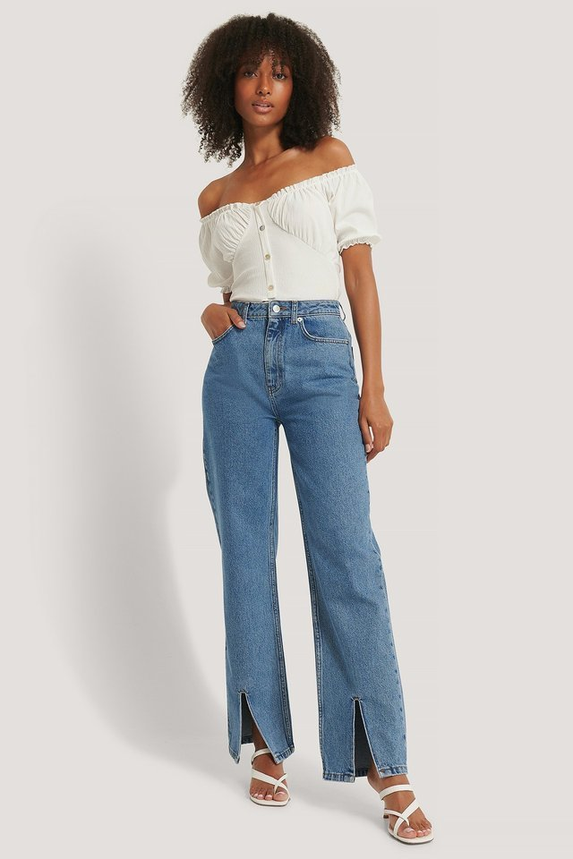 Bardot Buttoned Top Outfit.