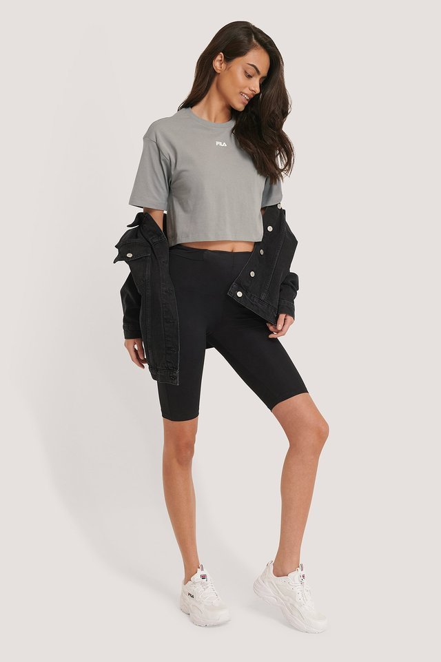 Magola Oversized Cropped Tee Outfit.