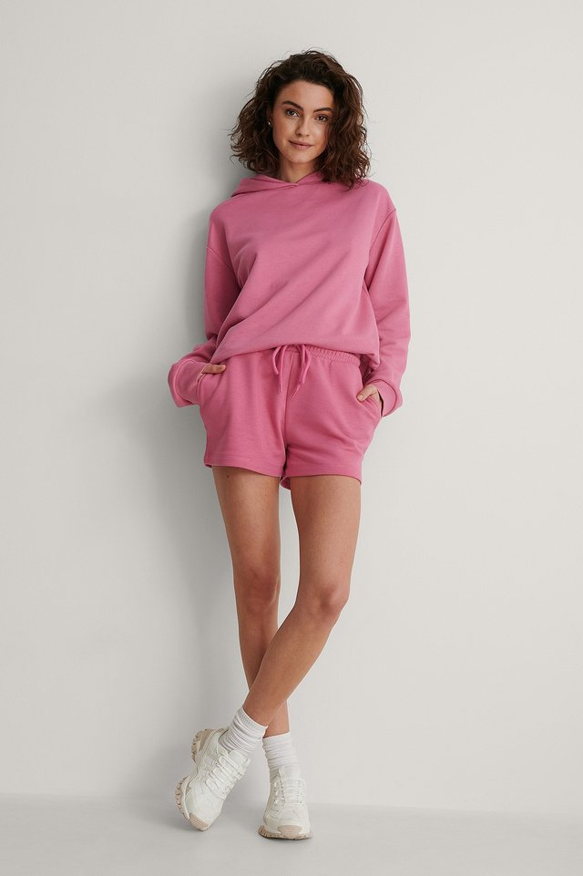Organic Drawstring Sweatshirt Shorts Outfit.
