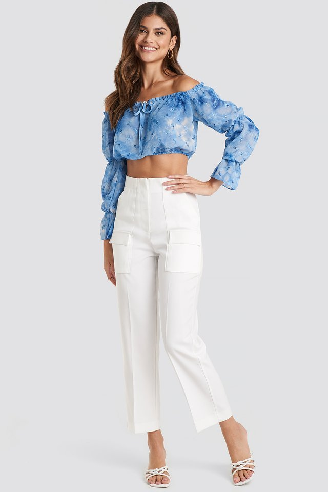 Carmen Collar Binding Crop Top Outfit.