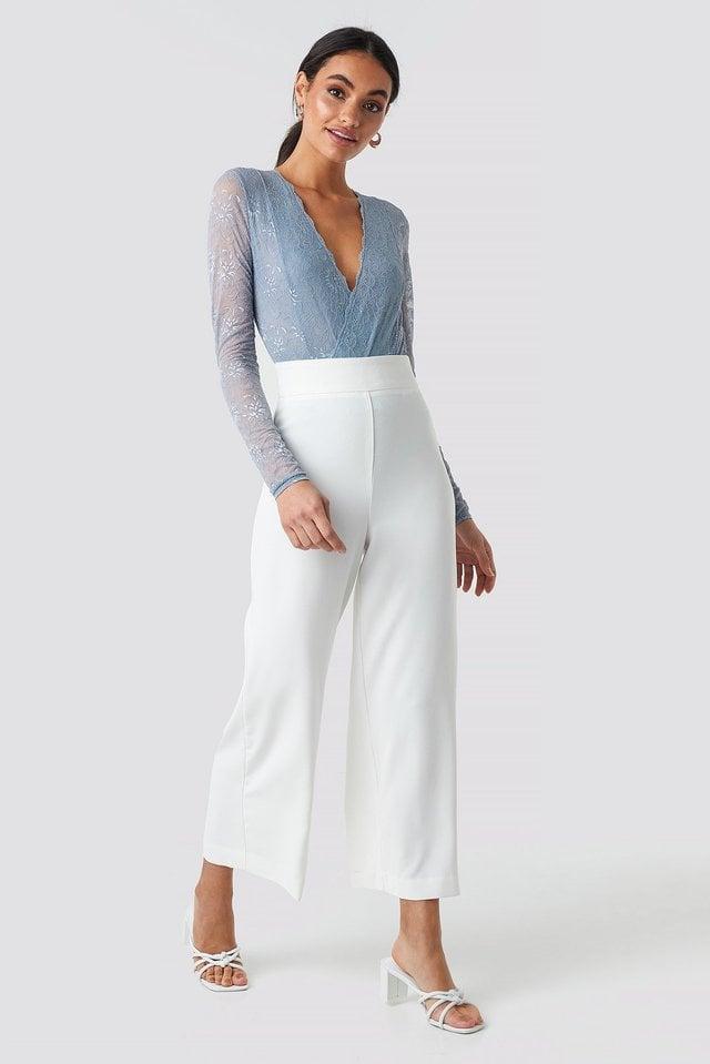 Wrap Front LS Lace Bodysuit Outfit.