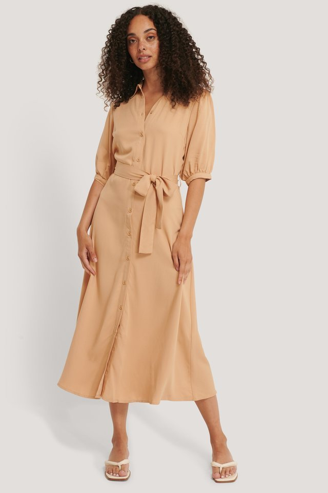 Puff Sleeve Belted Midi Dress Outfit.