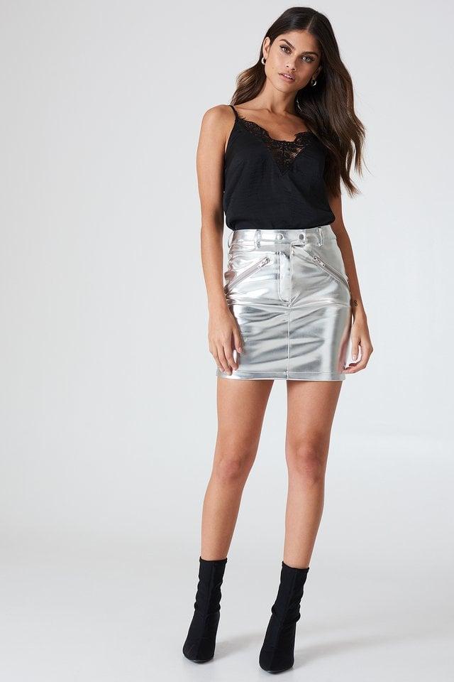 Metallic Skirt Outfit.