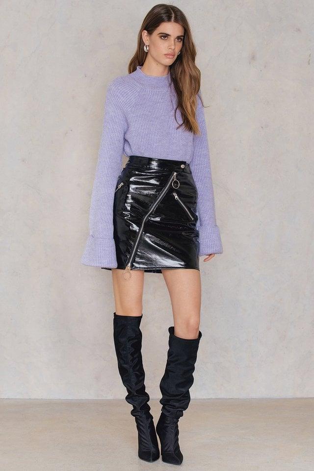 Diagonal Zip Patent Skirt Outfit.