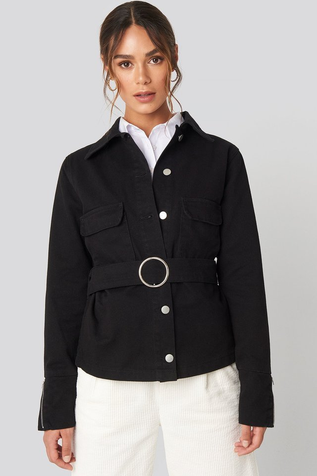 Button Down Belted Jacket Black Outfit.