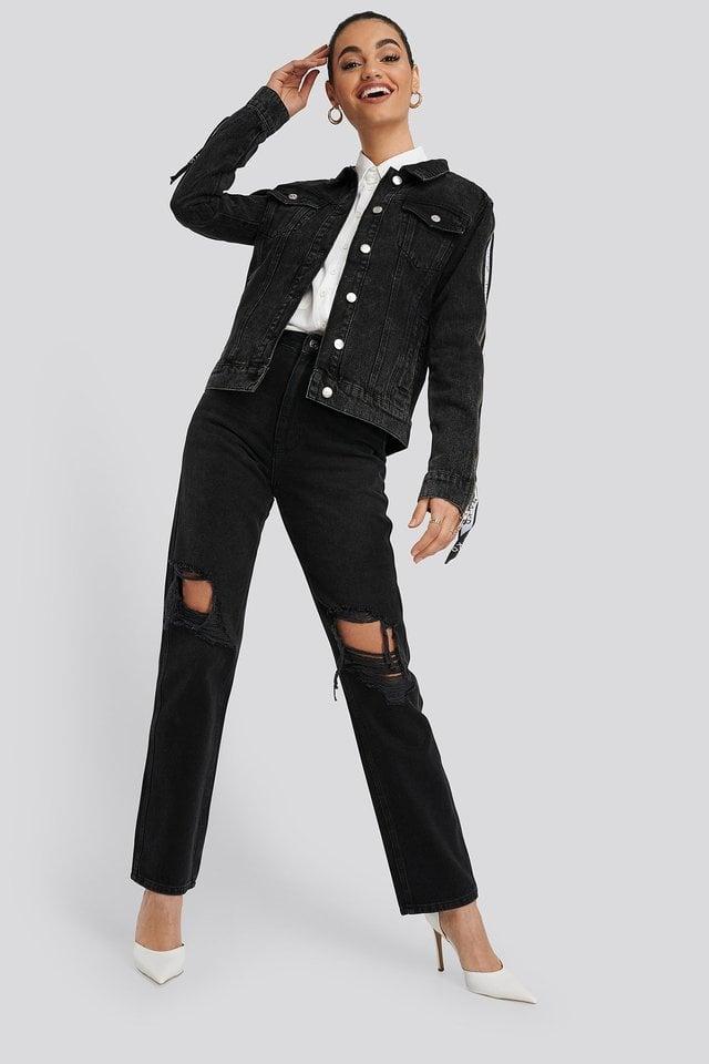Tape Zip Detail Denim Jacket Black Outfit.