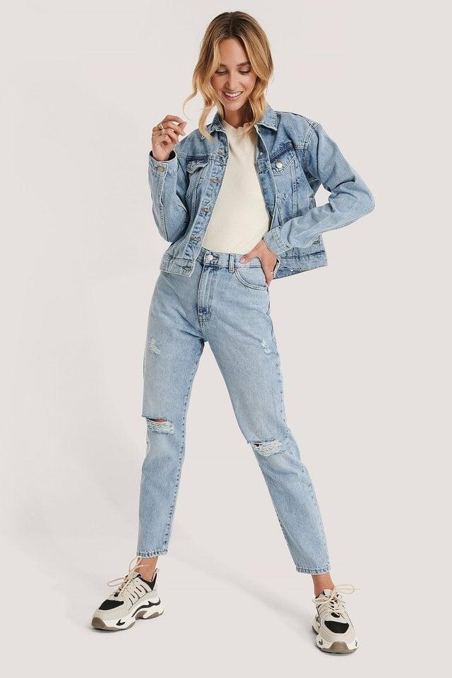 Alva Trucker Jacket Blue Outfit.