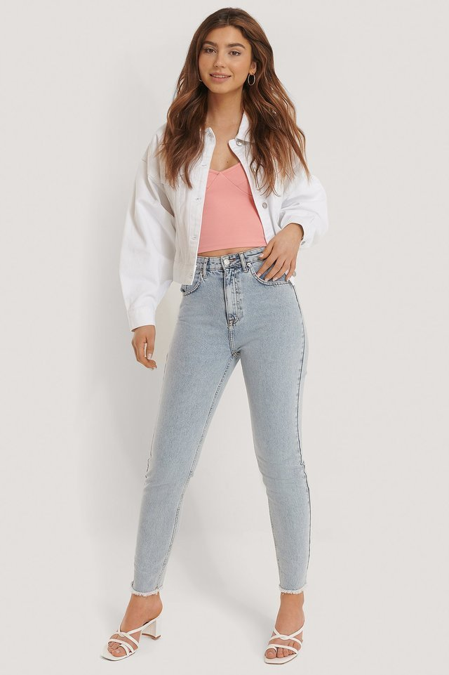 80's Trucker Denim Jacket White Outfit.