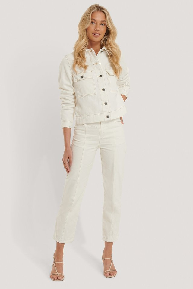 Lina Cargo Jacket White Outfit.