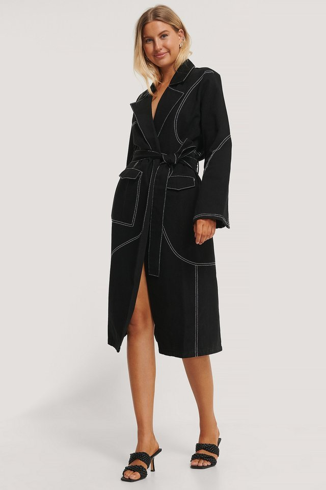 Contrast Stitch Coat Black Outfit.