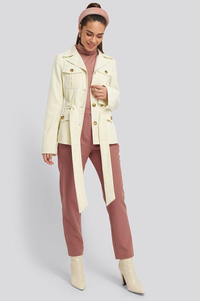 Detailed Blazer Beige Outfit.