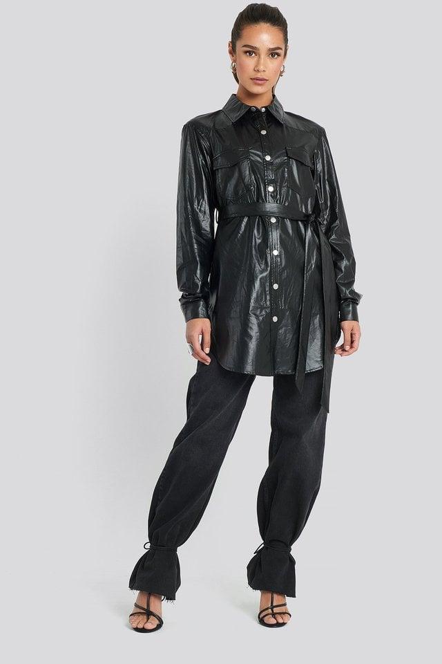 Pu Shirt Jacket Black Outfit.