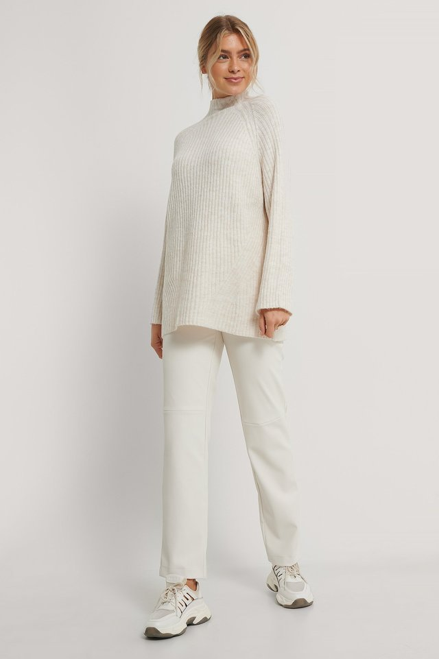 Long Knitted Sweater Outfit.