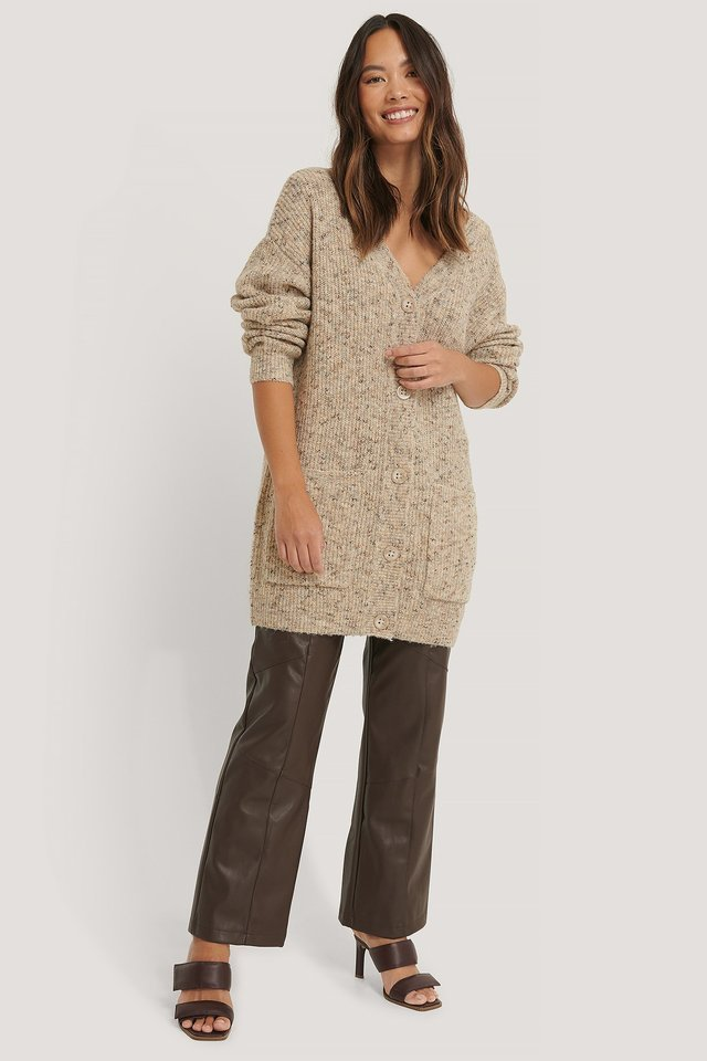 Melange Knitted Cardigan Outfit.