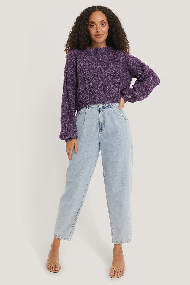 Melange Knitted Cropped Sweater Outfit.