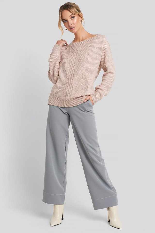 Off Shoulder Knitted Sweater Outfit.