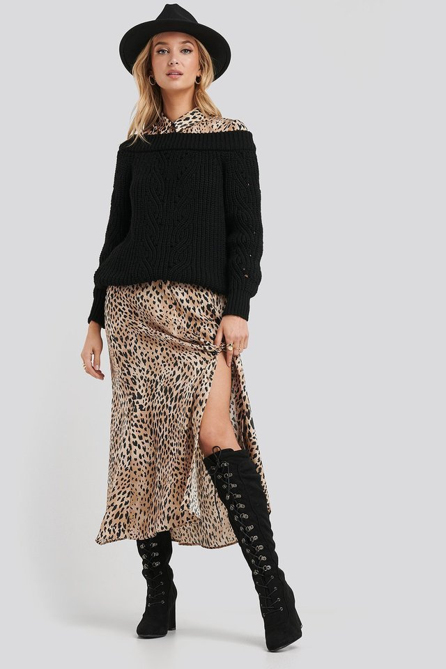 Off Shoulder Pointelle Knitted Sweater Outfit.