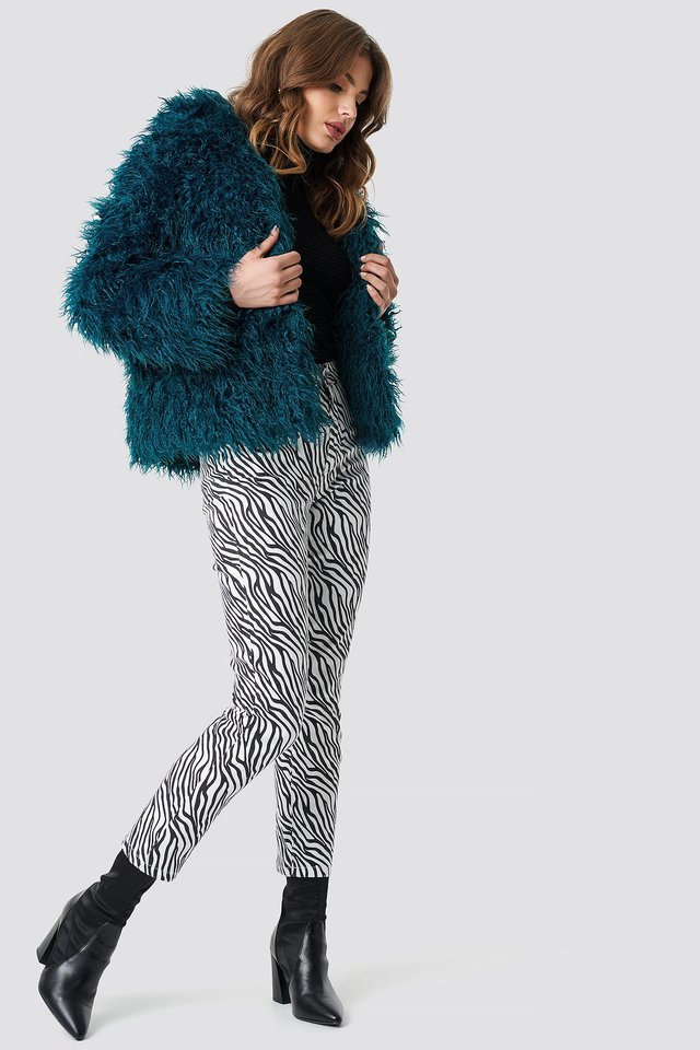 Faux Fur and Zebra Outfit